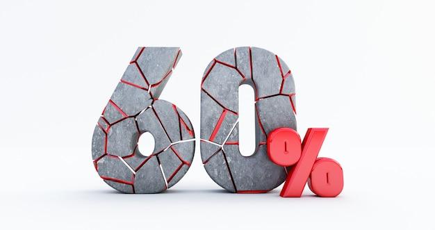 Gebrochen sechzig prozent (60%) isoliert, 60 sechzig prozent verkauf. bis zu 60%.