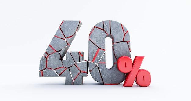 Gebrochen vierzig prozent (40%) isoliert, 40 vierzig prozent verkauf. bis 40%.