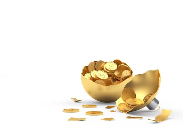 Gebrochene goldene weihnachtskugel mit münzen