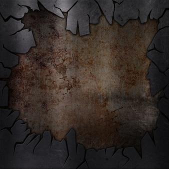 Gebrochene grunge metallischen hintergrund mit kratzern und flecken