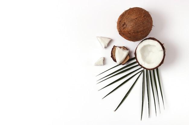 Gebrochene kokosnuss auf einer weißen hintergrundansicht von oben