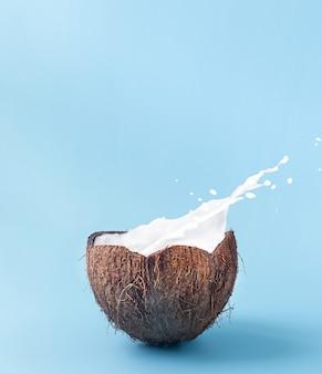 Gebrochene kokosnuss mit spritzer milch mit kopierraum.