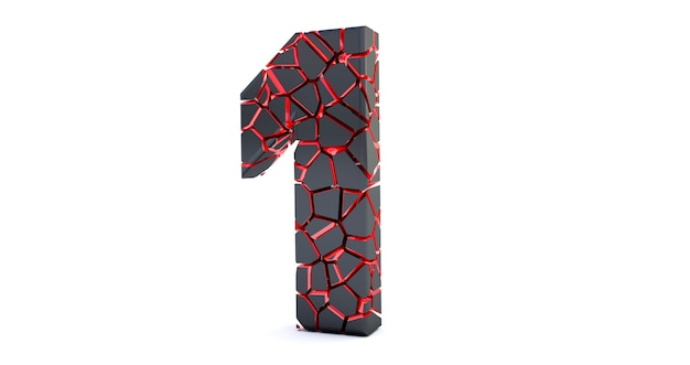 Gebrochene nummer isoliert (nummer 1). geknackt 3d nummer 1 eins.