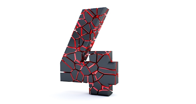 Gebrochene nummer isoliert (nummer 4). geknackt 3d nummer 4 vier.