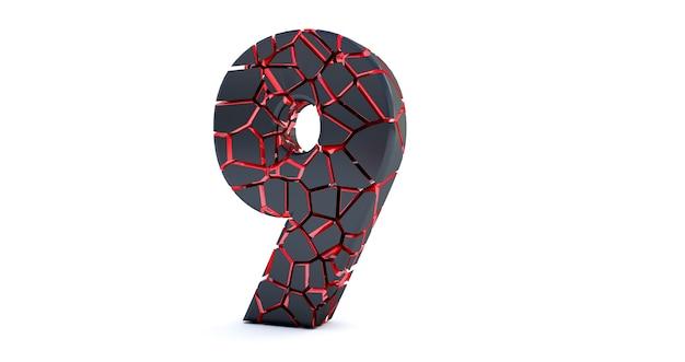 Gebrochene nummer isoliert (nummer 9)