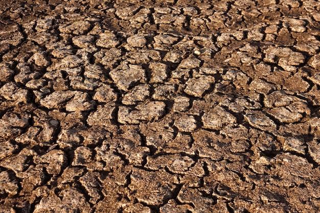 Gebrochene und trockene erde in der wüste