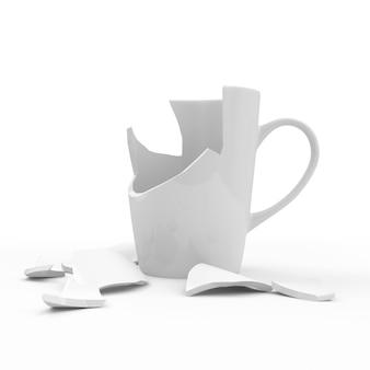 Gebrochene weiße tasse