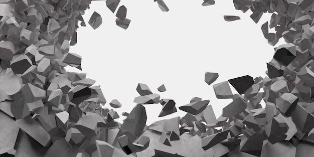 Gebrochene weiße wand mit einem loch in der mittleren 3d-illustration