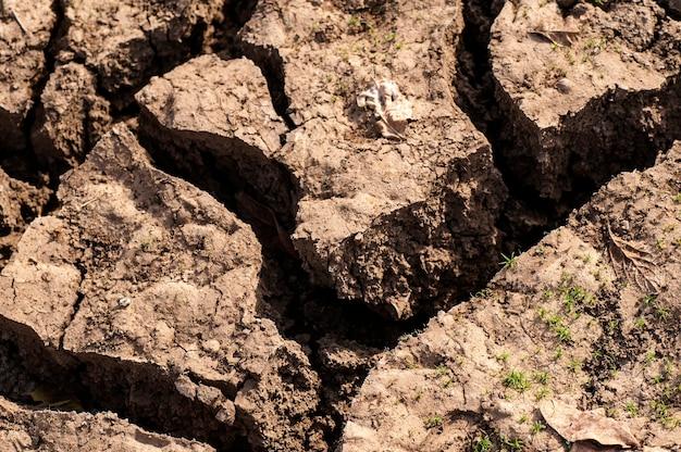 Gebrochener boden eine nahaufnahme von rissen auf dem boden aufgrund von dürre