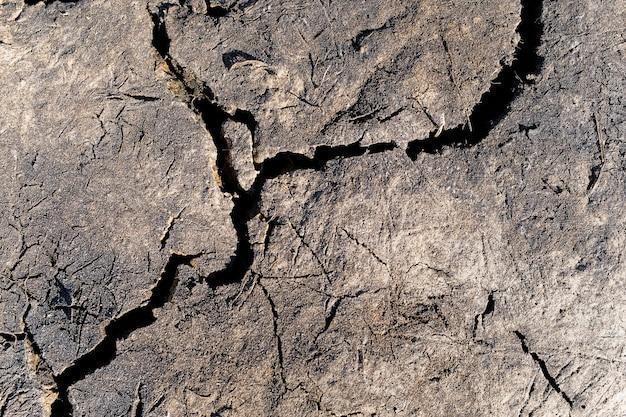 Gebrochener boden während der dürre, das land in der trockenzeit.