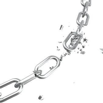 Gebrochener stahl, gebrochenes metall kettenglieder freiheitskonzept. störung starker stahl, 3d-illustration