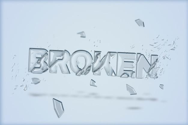 Gebrochener text in glasscherbenschrift