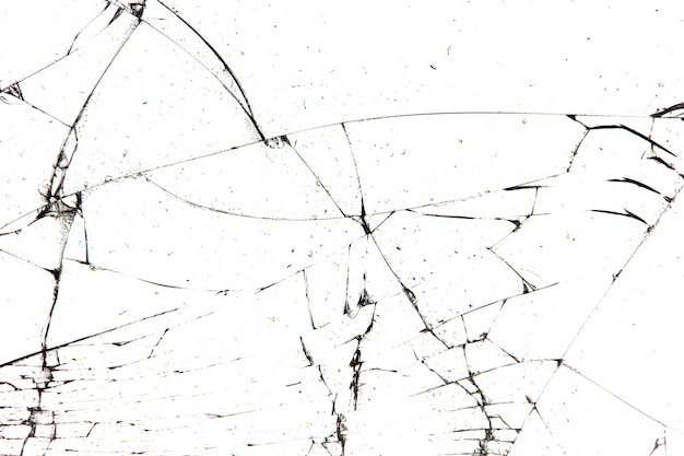 Gebrochenes glas isoliert auf weißem hintergrund.