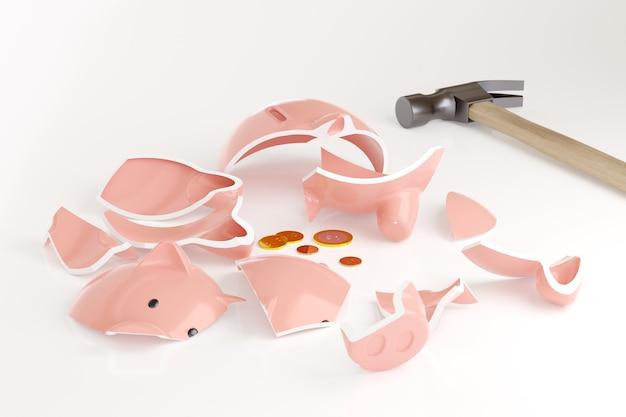 Gebrochenes sparschwein mit einigen münzen neben einem hammer lokalisiert auf weißem hintergrund. 3d-illustration.