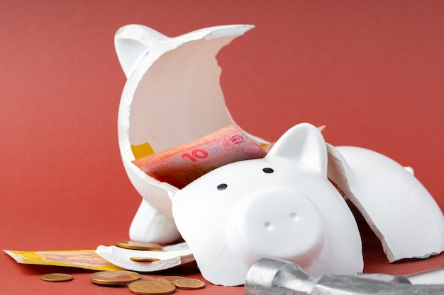 Gebrochenes sparschwein mit ukrainischen geldscheinen und münzen. rückgang des lebensstandardkonzepts