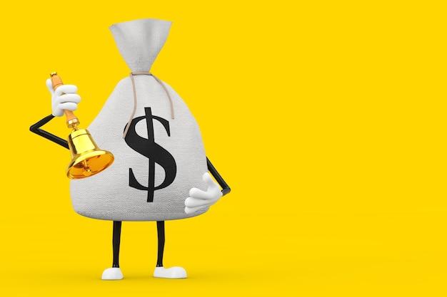 Gebunden rustikale leinwand leinen geldsack oder geldsack und dollarzeichen charakter maskottchen mit vintage golden school bell auf gelbem hintergrund. 3d-rendering