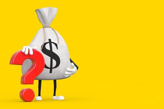 Gebunden rustikale leinwand leinen geldsack oder geldsack und dollarzeichen person charakter maskottchen mit rotem fragezeichen auf gelbem hintergrund. 3d-rendering