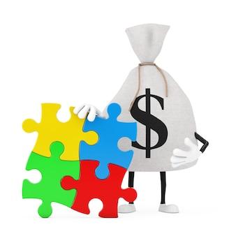 Gebunden rustikale leinwand leinen geldsack oder geldsack und dollarzeichen person charakter maskottchen mit vier stück bunte puzzle auf weißem hintergrund. 3d-rendering