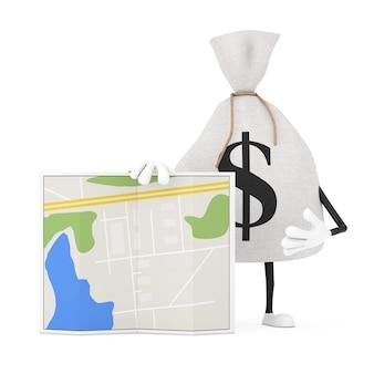 Gebundene rustikale leinwand leinen geldsack oder geldsack und dollarzeichen-charakter-maskottchen mit abstrakter stadtplan-karte auf weißem hintergrund. 3d-rendering