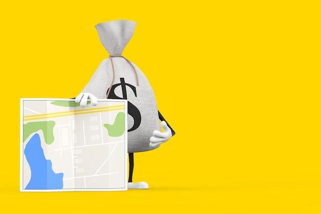 Gebundener rustikaler leinen-geldsack oder geldsack und dollarzeichen-charakter-maskottchen mit abstrakter stadtplan-karte auf einem gelben hintergrund. 3d-rendering