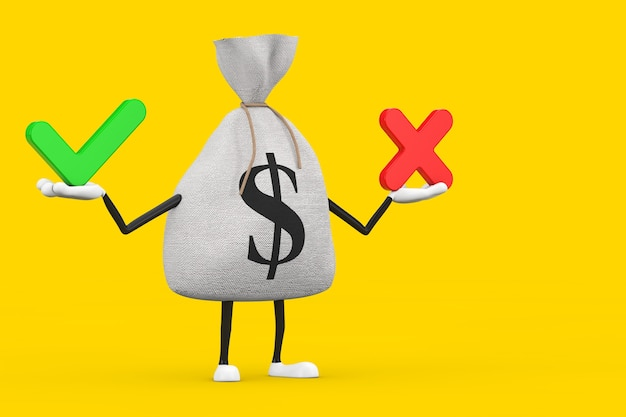 Gebundener rustikaler leinen-geldsack oder geldsack und dollarzeichen-charakter-maskottchen mit rotem kreuz und grünem häkchen, bestätigen oder verweigern, ja oder nein-symbol auf gelbem hintergrund. 3d-rendering