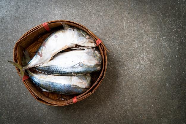 Gedämpfter makrelenfisch