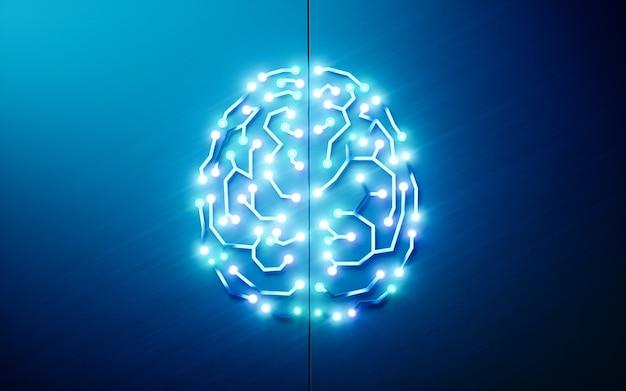 Gedruckte schaltungen gehirn. konzept der künstlichen intelligenz, des tiefen lernens, des maschinellen lernens, der intelligenten autonomen robotertechnologie auf blauem hintergrund. 3d-rendering