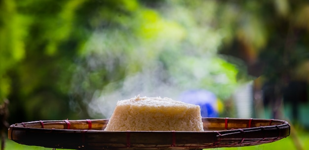 Gedünsteter klebriger reis auf einem bambus-tablett.