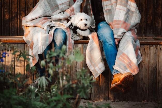 Geerntetes bild von den jungen paaren, die im park in der decke mit weißem hund zwischen ihnen sitzen