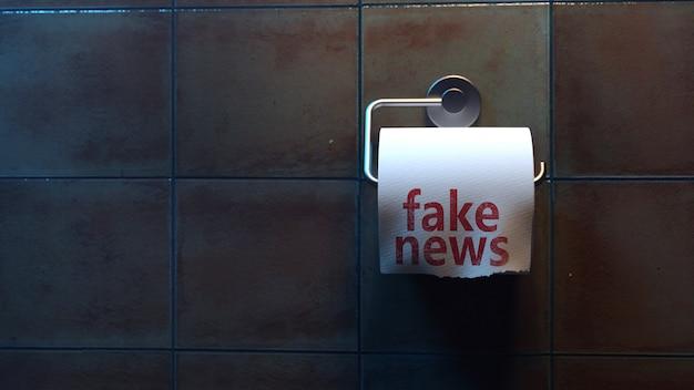 Gefälschte nachrichten. schreiben auf toilettenpapier in der toilette. 3d rendern