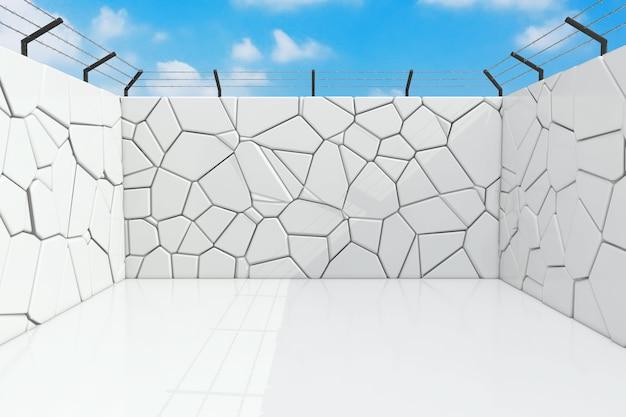 Gefängnis und gefängnis hof mit steinmauern extreme nahaufnahme. 3d-rendering