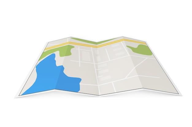 Gefaltete abstrakte navigationskarte auf weißem hintergrund
