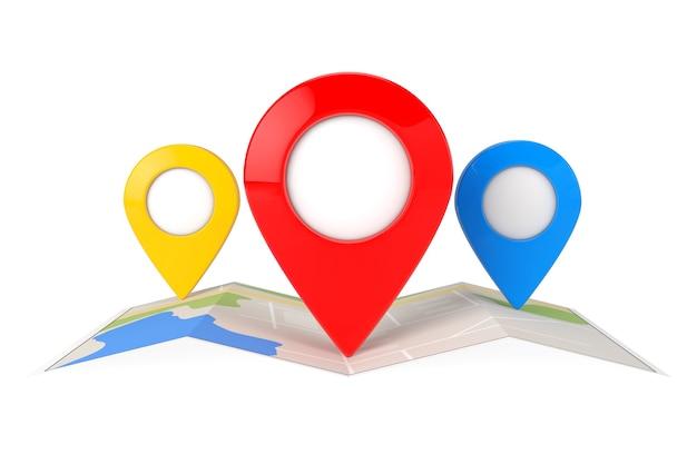 Gefaltete abstrakte navigationskarte mit drei zielkarten-zeiger-pins auf weißem hintergrund. 3d-rendering