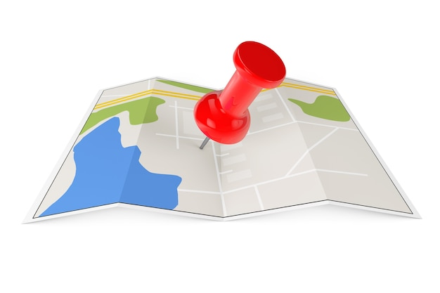 Gefaltete abstrakte navigationskarte mit pin auf weißem hintergrund