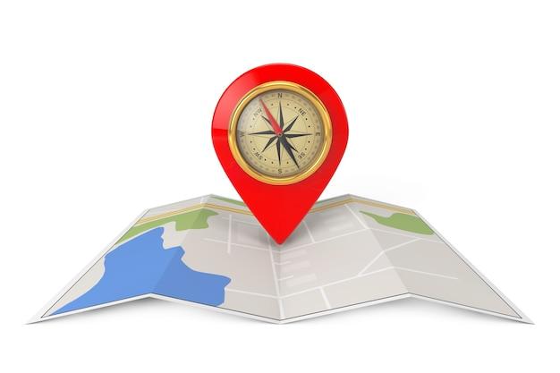 Gefaltete abstrakte navigationskarte mit ziel-pin und kompass auf weißem hintergrund. 3d-rendering