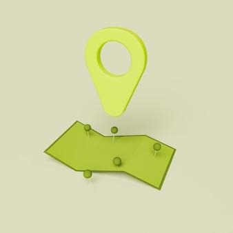Gefaltete karte mit standort-pin
