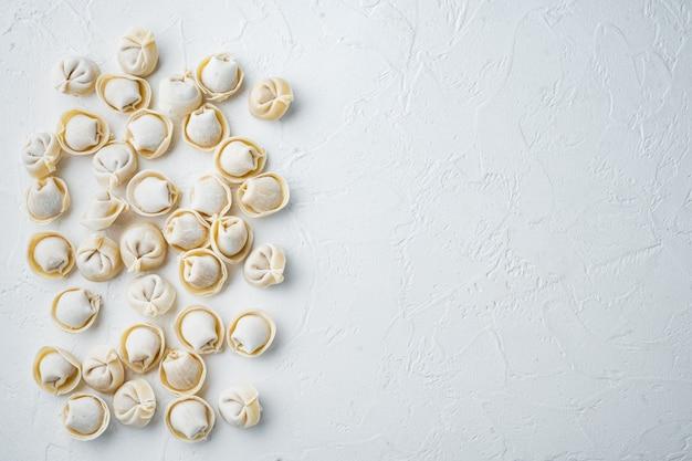 Gefrorene tortellini-set, auf weißem hintergrund, draufsicht flach, mit exemplar und platz für text
