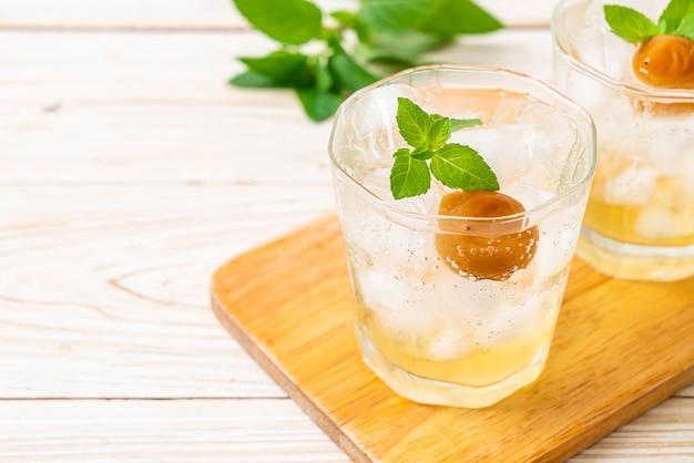 Gefrorener pflaumensaft mit soda und pfefferminze auf holztisch - erfrischungsgetränk
