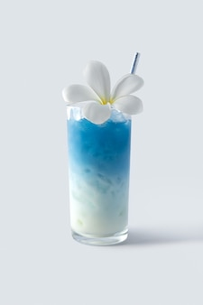 Gefrorenes blaues schmetterlingserbsenlattegetränk mit tropischem blumendekor. gesunder thailändischer traditioneller cocktail im glas