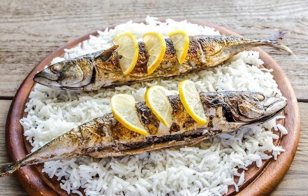 Gegrillte makrele mit basmatireis und frischem rucola