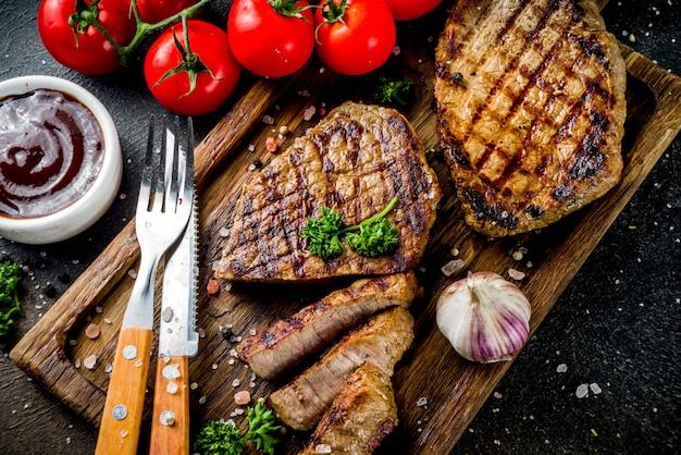 Gegrilltes fleisch, bbq-rindfleischsteak