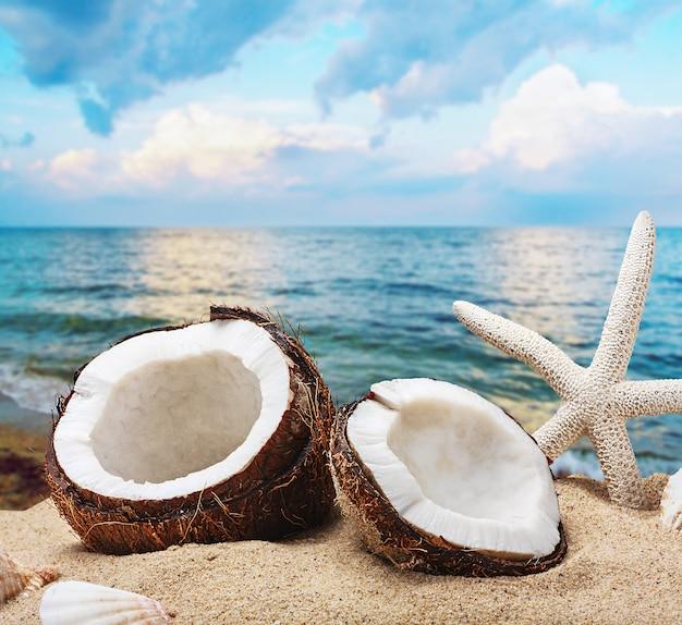 Gehackte kokosnuss am meer-strand