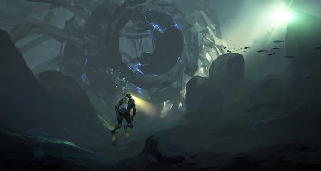 Geheimnisvolle maschinerie im meeresboden, digitale illustration.