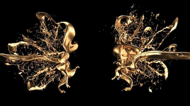 Geheimnisvoller, mystischer, luxuriöser goldspritzer. 3d-illustration, 3d-rendering.