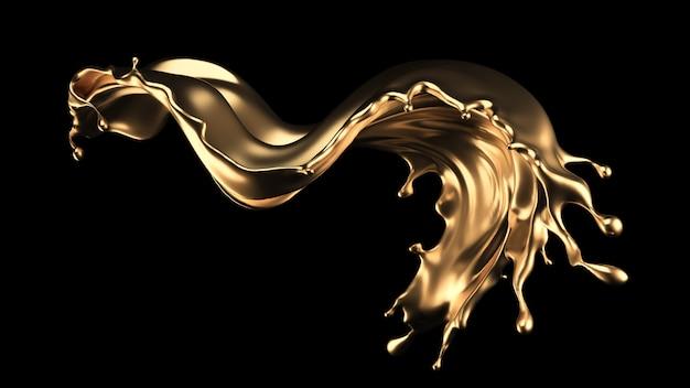 Geheimnisvoller, mystischer, luxuriöser goldspritzer. 3d-rendering.