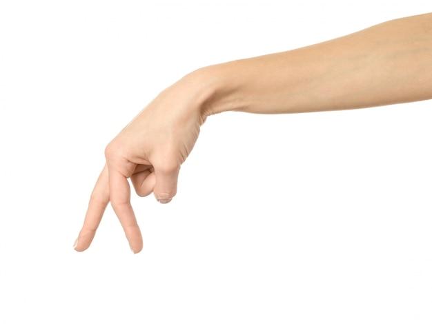 Gehende hand. frauenhand gestikuliert lokalisiert auf weiß