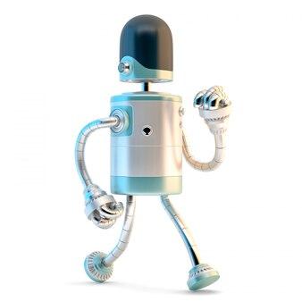 Gehender roboter. 3d-darstellung