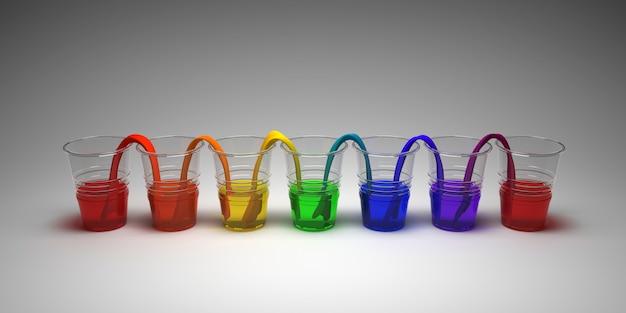 Gehendes wasserexperiment des regenbogens auf leerem hintergrund. konzept der wissenschaft. gläser in reihe mit farbigem wasser und nassem papier dazwischen.