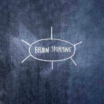 Gehirn, das diagramm auf tafel stürmt