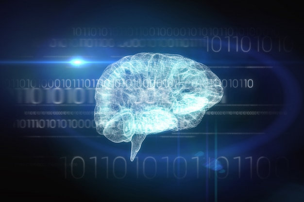 Gehirnschnittstelle in schwarz und blau